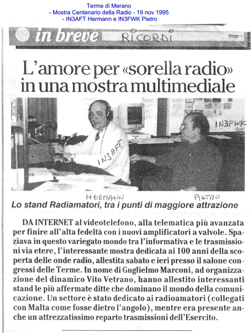 100 anni Radio Terme Merano 1995 AltoAdige